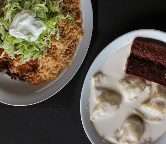 Perogies or Chimi platter